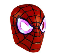 Wholesale children costume spiderman wholesale - Spiderman mask LED Masks Children Animation Cartoon Spiderman Light Mask Masquerade Full Face Masks Halloween Costumes Party Gift WX-C07
