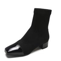 stiefeletten für kurze frauen großhandel-Sexy Frauen Knöchel Socke Stiefel 2018 Neue Kurze stricken Stiefel Party High Heels Casual Plateauschuhe Frau Größe 35-39