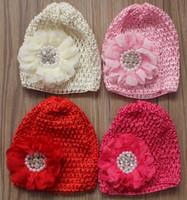 chapeau de dentelle au crochet achat en gros de-30pcs élastique au Crochet Hat avec 3,5