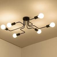 ingrosso bar luci in vendita-4/6/8 teste asta multipla luce di soffitto in ferro battuto retrò industriale loft lampada della cupola nordica per la decorazione domestica dinning cafe bar 110 v-240 v