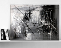 Wholesale original oil paintings modern - Hand Painted Original Abstract Modern Art Contemporary Painting Black White Gray Color Wall Art Decor Textured Large Artwork