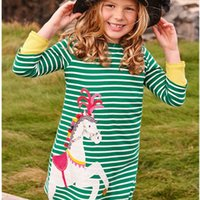 langhaarkleider großhandel-Weihnachten Mädchen Tunika Kleid Kinder Kleidung Einhorn Tier Applizierte Kleider für Mädchen 100% Baumwolle Mädchen Jersey Langarm Kleid
