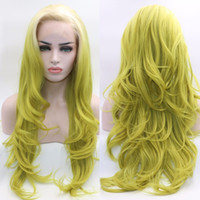 Wholesale yellow lace wig - Fantasy Beauty Long Wavy Ombre Lace Front Wig White Roots Ombre Yellow Green Synthetic Heat Resistant Full Wigs