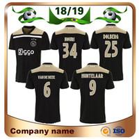 Wholesale uniform resale online - 18 Ajax Short Sleeve Soccer Jersey Ajax Away black NOURI Soccer Shirt HUNTELAAR KLAASSEN DOLBERG Football uniform Size S XL