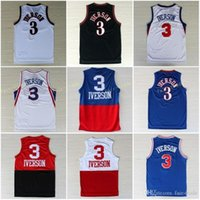 Wholesale Allen Iverson Georgetown Jersey - 2017 Georgetown Hoyas 3 Allen Iverson College Jersey New Rev 30 Material Allen Iverson Shirts Throwback Uniforms Red Gray Blue White Black