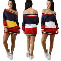 Wholesale Off Shoulder Stripes Dress - Europe and the United States style Women Casual Dresses Fashion stripe printing mini dress slash neck off shoulder Club bandage dresses
