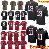 negro camiseta de julio jones al por mayor-Atlanta Falcons 2 Matt Ryan 11 Julio Jones 18 Ridley Jersey Limited 24 Devonta Freeman 21 Deion Sanders Jerseys hombre Color Rushred negro