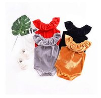 Wholesale organic baby clothes free shipping - Kids Baby Clothes Outfits Newborn Baby Romper Pleuche Spring Summer Velour Overall Short Sleeved Kids Romper Best Gifts DHL Free Shipping