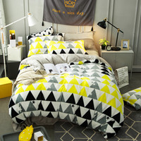 Wholesale king fleece sheet set - color geometric shape Carol Flannel Fleece winter thick 4pcs bedding set(duvet cover flat sheet pillowcase set)