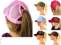 Wholesale baseball braids for sale - 2018 new designer hats caps women Glitter Ponytail Hat Messy Bun Ponycap Glitter Mesh Baseball Cap Sequin Softball Hats