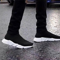 Wholesale Paris Art - HOTSALE WITH BOX 2018 New Luxury Paris Speed Trainer Stretch Knit Sock Women Men Mens Designer Running Brand Shoes Sneakers