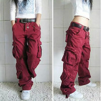 armée femmes achat en gros de-Femme Hiphop Salopettes Pantalon Harem tactique urbain Pantalon lâche Chino Pantalon cargo occasionnel aime Baggy Pantalon
