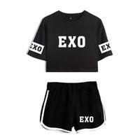 zweiteilige crop top kurze sets groihandel-Heiße neue Frauen Sommer zweiteilige Set EXO Brief gedruckt Frauen Casual Sets Crop Top T-Shirt + Shorts Mode weibliche Sportswear Sets