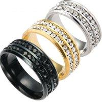 anel de banda de cristal de linha venda por atacado-Moda 2 Row Anel De Cristal Anéis De Dedo De Aço Inoxidável Banda Anéis de Casamento Anel de Casamento para As Mulheres Homens Noiva Jóias