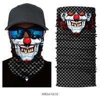 black faced ring 2018 - Wholesale- 3D Seamless Magic Head Scarf Skull Joker Clown Neck Half Face Mask Bandana Bicycle Headwear Headband Black Snowboard