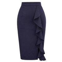 Wholesale Sexy Office Wear Womens - Pencil Skirts Womens 2017 New Sexy Ruffles Skirt Wear to Business Work Office High Waist Casual Bodycon Slim Midi Skirts Summer