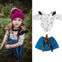 Wholesale Bohemian Denim Skirts - Printed Romper Denim Skirt for Girls Two-piece Clothing Sets Floral Jumpsuits Jean Dress Big Lace Bow Spring Autumn 0-5T
