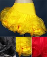 saia de salão amarelo venda por atacado-Frete grátis preto amarelo vermelho rosa adulto / meninas vestido de dança latina salsa tango cha cha salão de baile concorrência grupo saia de dança