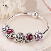 Wholesale Valentine Packages - 2018 Valentine gifts charms bracelets 925 sterling silver bracelets top quality brand jewelry full package
