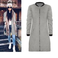 Wholesale cashmere zip cardigan - 2017 New Style Long Cardigan Autumn Winter Women Woolen Cloth Pocket Coat Solid Color Casual Female Grey Black Zipped Outwear