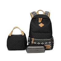 conjunto de saco escola coreana venda por atacado-Coreano Impressão Da Lona Do Vintage Mochila BackPack Mulheres Laptop Escola Bags para Adolescentes Meninas Cutbags do Sexo Feminino 3 PCS / Set