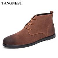 Wholesale elegent shoes - Wholesale- Tangnest Man's Plain Solid Patchwork Ankle Boots Men Vintage Elegent Flock Shoes Men Pointed Toe Lace Up Fashion Boots XMX648