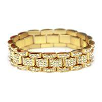 silberne knebelverschlüsse freies verschiffen großhandel-Hochwertiges Gold Silber überzogene Kette Männer Hiphop Armband günstigen Preis Kristall Fabrik direkt Hip-Hop Rap Schmuck Armband Freies Verschiffen