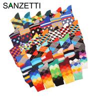 Wholesale blending oil paints - Sanzetti 5 Pair  Lot Funny Pattern Bright Colorful Men Socks Argyle Oil Painting Dot Striped Combed Cotton Crew Wedding Socks