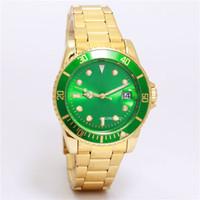 hebillas únicas al por mayor-Relogio masculino reloj de lujo para hombres de negocios esfera verde con reloj de calendario de acero inoxidable reloj de hebilla plegable único diseñador