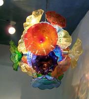 murano stil kolye toptan satış-Klasik Çiçek Avize Işık Dale Tarzı Murano Cam Tabaklar Kolye Lambaları Çok Renkli Üflemeli Cam Avize Aydınlatma LED