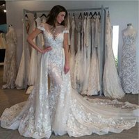 Wholesale stunning short sexy wedding dresses for sale - Group buy Dramatic Lace Bead Wedding Dresses Overskirt Detachable Train Short Sleeves Mermaid Wedding Gowns Stunning Bridal Dress