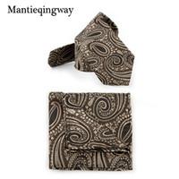 corbata de cuello de paisley pañuelo al por mayor-Paisley Floral Jacquard Hanky Necktie Set para hombre Pequeño Poliéster Negocio Bolsillo cuadrado Gravatas Corbatas delgadas