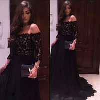 Wholesale black evening dresses three quarter resale online - Modest Off The Shoulder Black Lace Prom Dresses Three Quarter Sleeves Evening Party Dress Formal Gowns vestido de festa BA7895