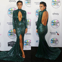 Wholesale out side lights resale online - Green Michael Costello Prom Dresses High Neck Mermaid Keyhole Hollow Out Sexy Sequined Backless Slit Side Evening Gowns