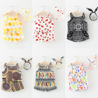 Wholesale white chiffon tank top - New baby girl chiffon vest tank top + shorts suit kids summer outfits children clothing set free Shipping