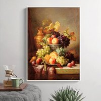 Wholesale Framed Paintings Fruit - Wholesale-no frame classic grape apple pineapple oil painting still life fruit canvas printings on canvas wall art decoration picture