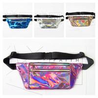 Wholesale Laser Hologram - New Laser PU Metallic Waist Bag Women Girls Fashion Design Rainbow Hologram Translucent Reflective Fanny Packs Sparkle Travel Beach Bag