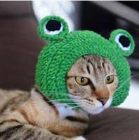 ingrosso rane fatte a mano-vendite !!! Commerci all'ingrosso Handmade libero Handmade DIY Pet Dog Cat Design creativo Frog Design caldo cappello lavorato a maglia regalo