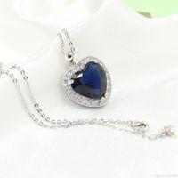 ingrosso grande zaffiro blu-Cuore choucong unico nuovissimo gioielli di lusso in argento sterling 925 grande blu zaffiro diamante cz collana del pendente della catena del partito per le donne regalo