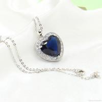 kadınlar için büyük markalı kolye toptan satış-Kalp choucong Benzersiz Marka Yeni Lüks Takı 925 Ayar Gümüş Büyük Mavi Safir CZ Elmas Parti Zincir Kolye Kolye Kadınlar Için Hediye