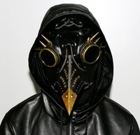 Wholesale full face metal masks for sale - Group buy Steampunk Plague Doctor Mask Faux Leather Birds Beak Masks Halloween Art Cosplay Carnaval Props