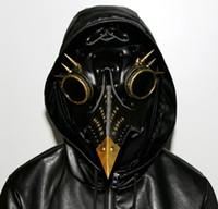 maskeli deri toptan satış-Steampunk Plague Doktor Maske Faux Deri Kuşlar Gaga Maskeleri Cadılar Bayramı Sanat Cosplay Carnaval Sahne