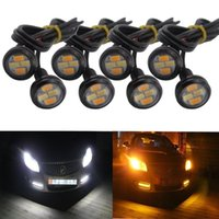 Wholesale luggage truck resale online - 10pcs Car Styling mm SMD Dual Color White Amber Eagle Eye LED DRL Turn Lights For Car motor truck offroad