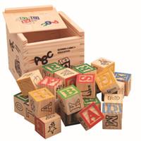 blocos de alfabetos venda por atacado-27 pçs / set Descoberta Imaginarium Números De Madeira Do Alfabeto Blocos De Construção De Madeira Letra Tijolos Blocos Brinquedos Para Crianças