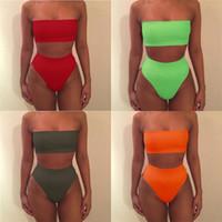 tubos de tetas de señoras al por mayor-Mujeres S Bikini Traje de baño Femme Trajes de baño Natación Boob Tube Top Beach Lady Swimwear High Waist Two Piece Set 6wj