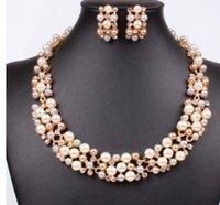 conjuntos de boda de diamantes de perlas al por mayor-maravilloso color cystal diamond pearl wedding bride conjunto de la dama collar pulsera (14.8) drtyr