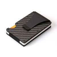 logoblöcke großhandel-Rfid Blockierung Shiled Carbon Slim Brieftasche Tasche Visitenkartenhalter Mit Geldscheinklammer Unterstützung Laser LOGO Geschenke