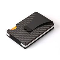 karbon fiber klips toptan satış-Rfid Engelleme Shiled Karbon Fiber Ince Cüzdan Cep Kartvizitlik Para Klip Destek Lazer LOGO Hediyeler Ile