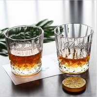 Wholesale diamond cut crystal glasses resale online - 290ML Creative Crystal Diamond Whisky Cup Shot Glass Engraving Tasting Cup Beer Wine Glass Cup Bar Restaurant Drinkware