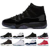 Wholesale black cap women - New arrival 11 Prom Night basketball Shoes men women blackout Cap and Gown bred concord gym red Midnight Navy sneakers us 5.5-13